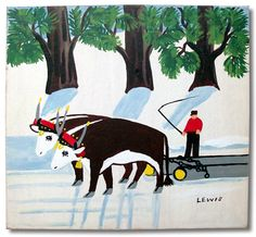 Maud Lewis - Oxen pulling logs
