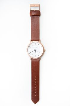 The Horse Leather Watch - Rose Gold, Walnut Leather Band A simple take on the classic time-teller. Featuring a sandblasted IP rose gold coated stainless stee...