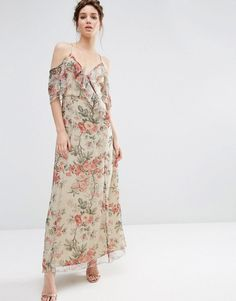 Image 1 of ASOS Ruffle Cold Shoulder Maxi Dress in Vintage Floral Print
