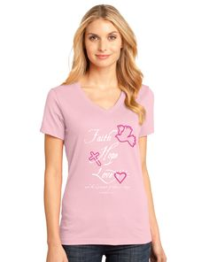 Faith Hope Love | light pink l V Neck Christian T-Shirt on SonGear.com
