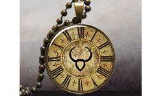 Steampunk Zodiac, Taurus pendant, Zodiac necklace charm, Taurus jewelry, Taurus birthday gift. $8.95, via Etsy.