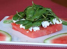 Grilled watermelon is a hidden secret. It caramelizes a bit and is wonderful and beautiful when it's turned into a salad. Photgraphs included.