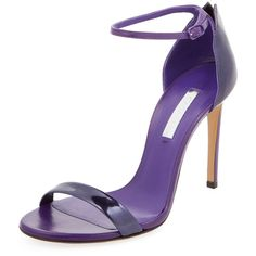 Casadei Women's Metallic Leather Ankle-Wrap Sandal - Purple - Size 37 (14,835 INR) ❤ liked on Polyvore featuring shoes, sandals, heels, purple, leather shoes, metallic heel sandals, metallic leather sandals, ankle tie sandals and wrap around ankle sandals
