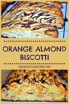 Orange Almond Biscotti are crispy Italian inspired cookies, with a semi-sweet chocolate base, and chocolate drizzle on top. Perfect to dunk in coffee! / The Grateful Girl Cooks! Almond Biscotti Recipe Italian, Chocolate Almond Biscotti Recipe, Chocolate Orange Cookies, Coconut Hot Chocolate, Chocolate Drizzle, Lemon Biscotti, Chocolate Oats, Biscotti Cookies, Italian Christmas Cookies