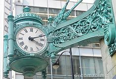 Famous clock in Chicago on the former Marshall Field's building