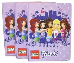 (3-Pack) Lego Friends Writing Journal Pad, Powerful Together Theme with Purple Skyline Design