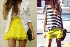 Look do Dia = Saia ou Shorts Amarelo