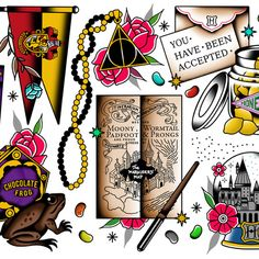 Magic Flash Set - Harry Potter American Traditional Tattoos by Derick James