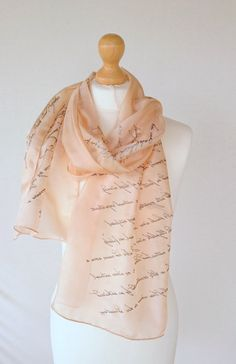 Pride and Prejudice Jane Austen Book Scarf, Hand Painted Silk Scarf 18X72 inch Gift-Wrapped, READY to Ship, more color avaliable