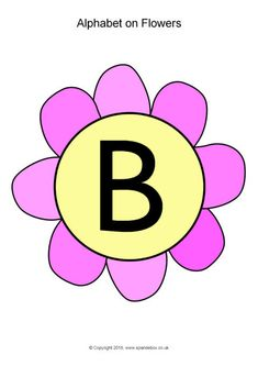 Alphabet on Flowers – Capitals - SparkleBox Alphabet Display, Flower Alphabet, Kindergarten Math Worksheets, Free Teaching Resources, Garden Theme, Anchor Charts, Childcare, F1, Classroom Ideas