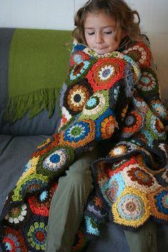 crocheted hexagon afghan