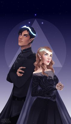 The Night Court — maggiepalmiter: High Lord and Lady of the Night. The Night Court — maggiepalmiter: High Lord and Lady of the Night. A Court Of Wings And Ruin, A Court Of Mist And Fury, Fanart, Mara Dyer, Feyre And Rhysand, Sarah J Maas Books, Throne Of Glass Series, Crescent City, Look At The Stars