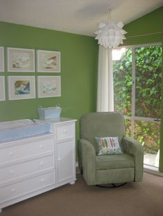 Nursery idea- like the green and white