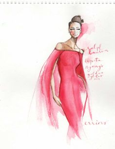 Tumblr Errina Mercer Fashion Illustration Lupita Nyong'o in a gorgeous beautiful red dress by Ralph Lauren at the Golden Globes 2014.