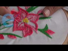 Hand Embroidery: Rope stitch - YouTube Basic Embroidery Stitches, Hand Embroidery Videos, Wool Embroidery, Sewing Stitches, Hand Embroidery Designs, Embroidered Flowers, Flower Designs, Hand Sewing, Needlework