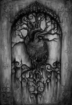 Black and White creepy edit dark heart surreal gothic Macabre ...