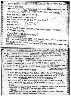 Musical tips and hints written by Thelonious Monk