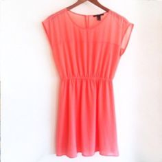 Forever 21 Coral Summer Dress CONDITION: PRELOVED, worn once  // DESCRIPTION: Forever 21 summer dress, bright coral/orange creamsicle color, flowy material, sheer panel on shoulder and sleeves, cinched waist, keyhole on back with gold button, great for brunch in the spring and summer  // *From non-smoking home // *Currently NOT accepting trades // *Please feel free to leave any questions! THANK YOU! Forever 21 Dresses