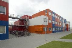 Around 380 temporary container residences have been made available for students on the NDSM wharf in North Amsterdam.