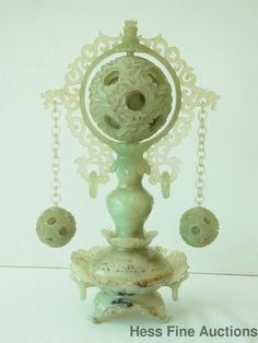 Chinese Jade Censor W/2 Pendant Puzzle Balls & Center Reticulated Mystery Ball