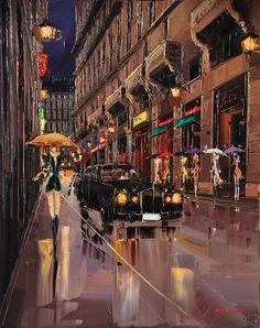 Palette Knife Painting by Kal Gajoum City Painting, Paris Painting, Knife Painting, Umbrella Art, Singing In The Rain, Watercolor Techniques, City Art, Oeuvre D'art, Architecture