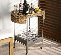 Woven Bar Cart - cute for summer outdoor  #potterybarn