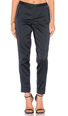 ATM Anthony Thomas Melillo Stretch Satin Classic Slim Pant in Midnight
