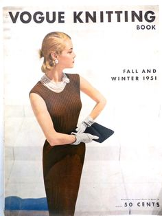 1951 VOGUE Knitting Crochet Patterns Dresses Blouses Bathing Suit Hats - The Best Vintage Clothing - 1 Vintage Couture, Vintage Glam, Mode Vintage, Vintage Vogue, Vintage Fashion, Crochet Beret, Crochet Cap, Vintage Magazine, Collarless Jacket