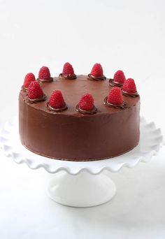 Try this recipie for a rich chocolate cake with raspberry buttercream that is sure to please any chocolate lover.