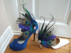 Bridal Curled Peacock Feathers and Crystal Brooch Blue Green Navy Shoe Clips SCB110 on Etsy, $61.00