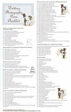 Printable Wedding Photography Poses Checklist Take As Many You Can To Remember Your Special Day What A Great All Inclusive List