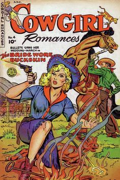 Cowgirl Romances 04 (Fiction House) - Comic Book Plus Comics Vintage, Vintage Comic Books, Comic Books Art, Comic Art, Book Art, Vintage Art, Vintage Images, Cowgirl And Horse, Cowboy Art
