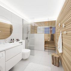 Marvipolatelier.pl   Skandynawski loft Saunas, Bathroom Interior Design, Interior Design Living Room, Sauna Shower, Indoor Sauna, Sauna Design, Spa Rooms, Sauna Room, Bathroom Toilets