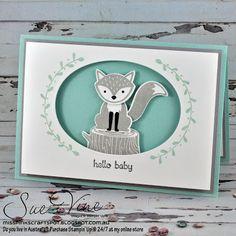 Sue Vine | MissPinksCraftSpot | Stampin' Up!® Australia Order Online 24/7 |Foxy Friends | Teeny Tiny Sentiments | Baby | #stampinup  #foxyfriends #teenytinysentiments #GDP052  #handmadecard #baby #newborn