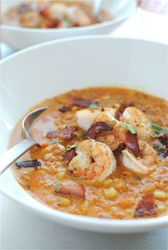 Smoky Corn Chowder with Shrimp - substitute nonfat Greek yogurt for half and half, will cook bacon in the oven