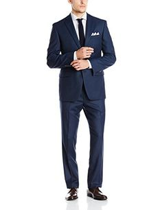 Calvin Klein Men s Nailhead 2 Button Side Vent Slim Fit Suit 901bd4d6f
