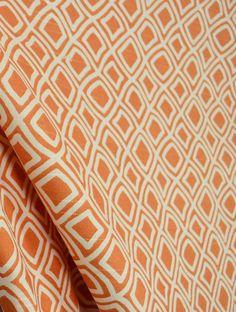 Killburn Melon Orange Cream Ethnic Diamond Cotton Drapery Fabric