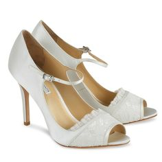 Jemima Wedding Shoes ~ Benjamin Adams Bridal Shoes. Modern Mary Jane's on a Sexy heel, with a peep toe & lace trim. Wedding shoes with vintage charm, perfect with lace gowns.
