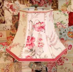 Floral Lamp Shade Pink Lampshade Vintage French by lampshadelady