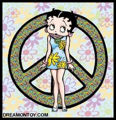 More Betty Boop graphics and greetings: http://bettybooppicturesarchive.blogspot.com/  ~And on Facebook~ https://www.facebook.com/bettybooppictures- Hippie #BettyBoop with peace sign