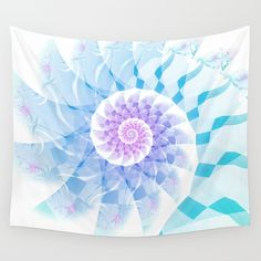 Modern Fractal Spiral in Turquoise, Blue & Purple Wall Tapestry