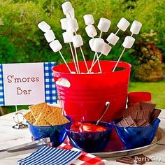 S'mores Bar is listed (or ranked) 8 on the list Patriotic Party Ideas for Your J. - S'mores Bar is listed (or ranked) 8 on the list Patriotic Party Ideas for Your July Bash S' - Fourth Of July Decor, 4th Of July Celebration, 4th Of July Decorations, 4th Of July Party, Food Decorations, July 4th Wedding, Memorial Day Decorations, 4th Of July Games, 4th Of July Food Sides