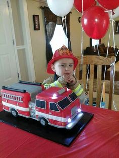 My little firefighter and his fire truck birthday cake!