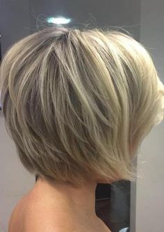 Have no new ideas about layered hair styling? Find out the latest and trendy layered hairstyles and haircuts in Check out the ideas at TheRightHairstyles. Short Sassy Haircuts, Stacked Haircuts, Haircuts For Fine Hair, Short Hairstyles For Women, Layered Hairstyles, Haircut Short, Hairstyles 2018, Trendy Hairstyles, Short Hair With Layers