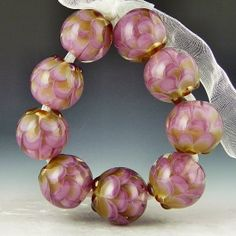 a set of 9 delicate purple with gold adventurine round petal beads handmade lampwork glass - Amethyst & Gold