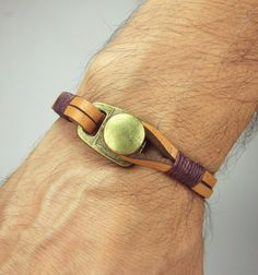 Men's Leather Bracelet. Men Bracelet Natural by ZEcollection, $18.00