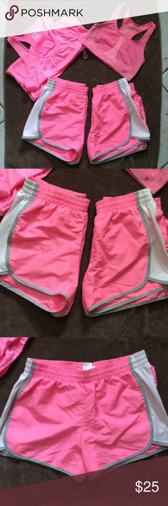 Work out clothing lot size small PRE-OWNED WORK OUT CLOTHING LOT!! All size small except bra it's Med but fits small!! Lot consists of a tank top, 2 pairs of shorts and a sports bra. Both shorts have an inner lining. In decent condition but they have all been worn they are definitely NOT new but still in very good condition. The pink tank has some very pale stains down the front hardly noticeable but if you just wanted to work out in it it wouldn't be a bother. Tank cinches at the waist…