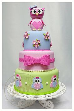 Pretty Owl Tiered Cake