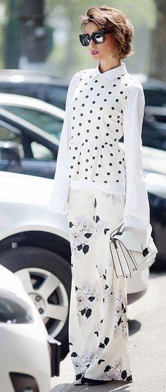 mix of prints   mixing prints and patterns   polka dot top   wide leg trousers   loeffler randall bag   layering in summer styles   fashion blogger Ellena Galant