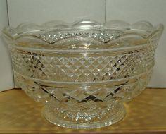 Vintage Glass Anchor Hocking Wexford Large Fruit Bowl Footed | eBay